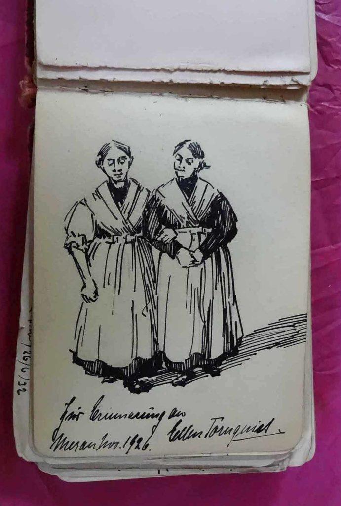 Zeichnung mit 2 Frauen von Tornquist