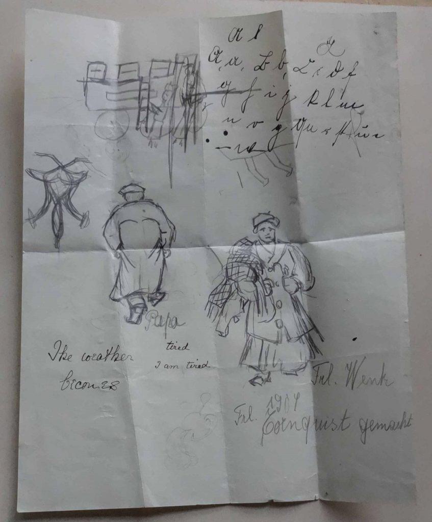 Zeichnungen einer mit Mänteln und Decken schwer bepackten Frau
