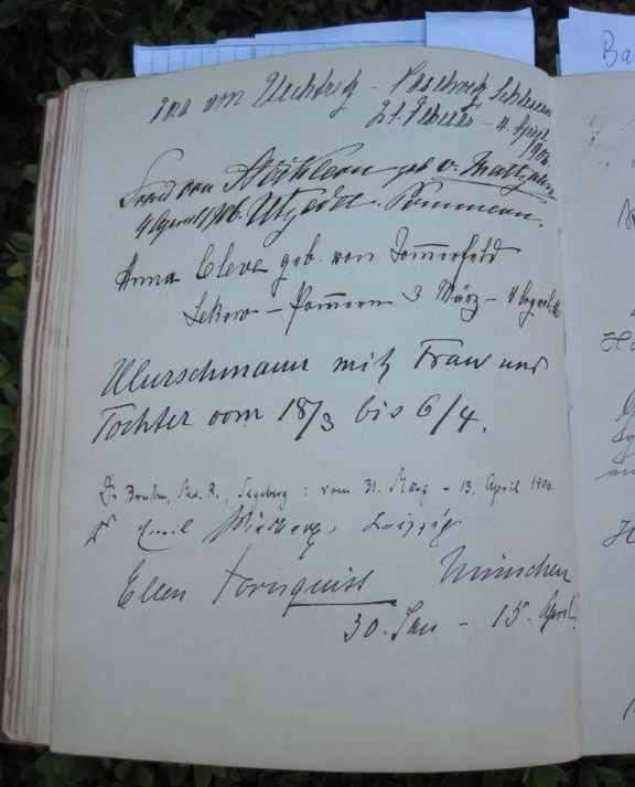 Seite aus dem Gästebuch mit Eintrag Tornquist