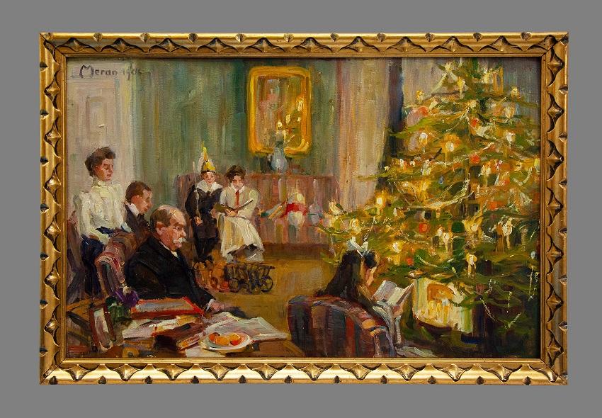 Ölgemälde mit Familie Fromm unterm Weihnachtsbaum