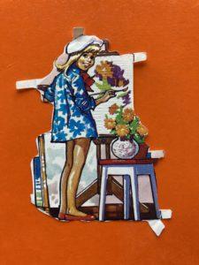 Glanzbild mit Malerin