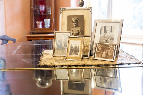 Framed photographs of Enea Navarini presented in the museum