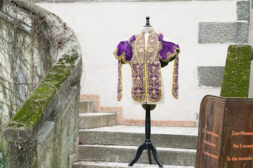 The coat presented in front of the museum
